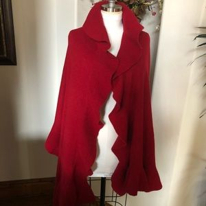 Red sweater wrap with ruffles. 6 feet by 30 inches